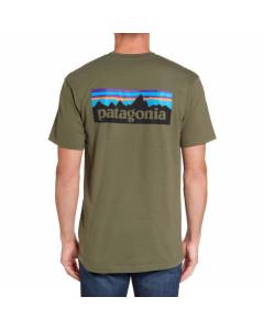 Patagonia p-6 logo organic cotton t-shirt industrial green