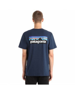 Patagonia p-6 logo organic cotton t-shirt navy blue