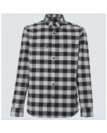 Oakley checkered ridge long sleeve bike shirt dwr stone gray